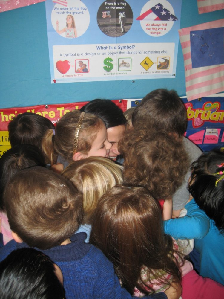Local preschoolers wouldn't let Dr. May leave without a big hug first